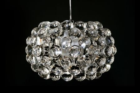 Disco chandelier with big crystal loupe balls