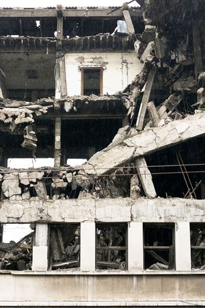 Ruined residential building after strong earthquake eruption  Stock Photo - 2079758