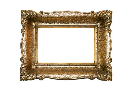 Golden square frame with luxury engrave work  Stock Photo