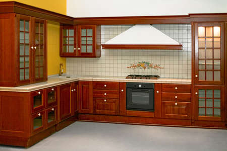 house renovation: Big and new traditional look wooden kitchen