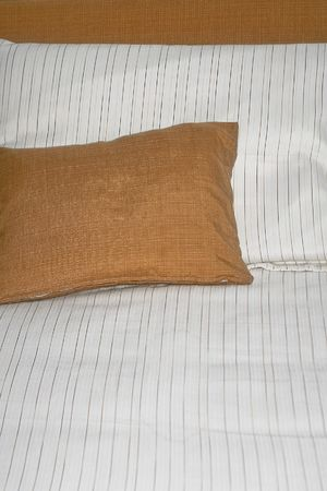 Two soft pillows on the big bed Stock Photo - 2096250