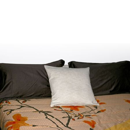 Three soft pillows on the big bed Stock Photo - 2096243