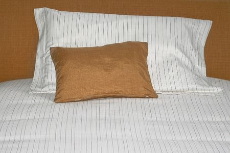 Two soft pillows on the big bed Stock Photo - 2096252