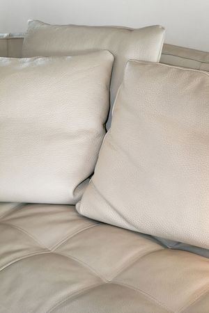 Modern pillows made from finest bright leather Stock Photo - 2105560