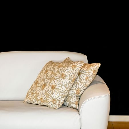 White sofa with two pillows and floral design Stock Photo - 2105564