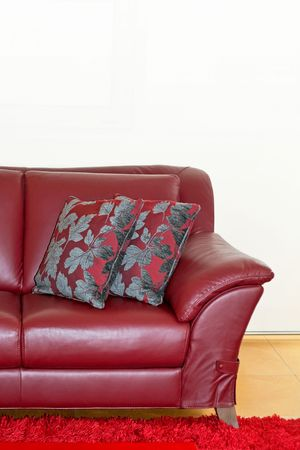 Part of dark red leather sofa and pillows Stock Photo - 2105562