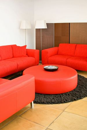 Red sofas in the living room with lamp Stock Photo - 2105550