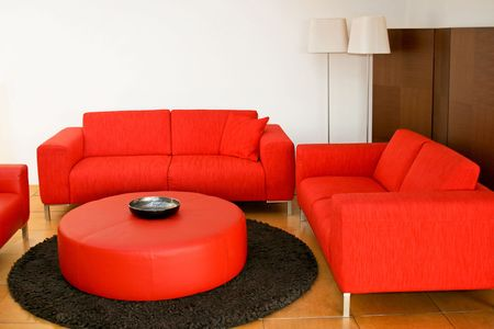 Red sofas in the living room with lamp Stock Photo - 2105547
