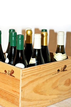 Bunch of wine bottles in the wooden box Stock Photo - 2138054