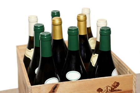 Ten bottles of white and red wine Stock Photo - 2138051