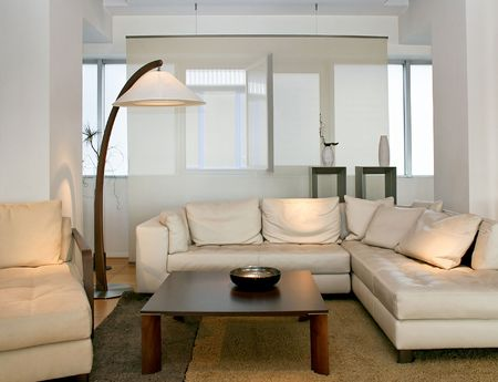 sitting area: Bright and modern living room with big sitting area