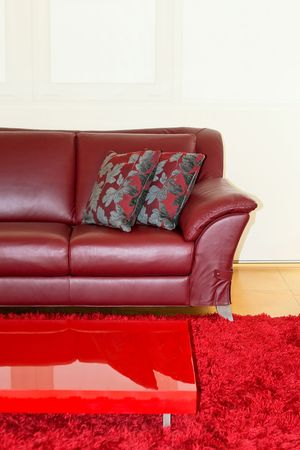 Part of dark red leather sofa and pillows Stock Photo - 2163232