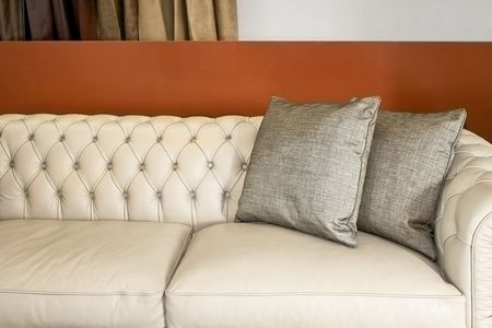 Comfort and luxury leather sofa with pillows Stock Photo - 2163238