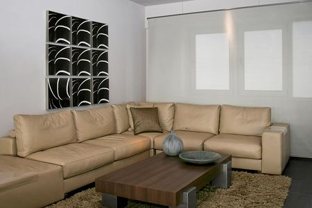 Bright and modern living room with big sitting area Stock Photo - 2163231