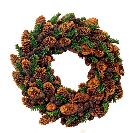 Traditional Christmas wreath made from pine cones photo