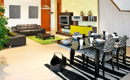 Modern dinning room with table and chairs Stock Photo - 2391176