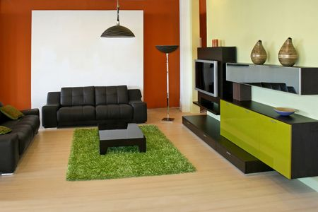 Modern living room with green and terracotta colors photo