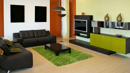 Modern living room with green and terracotta colors Stock Photo - 2391173
