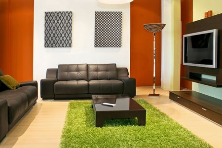 Modern living room with green and terracotta colors Stock Photo - 2395264