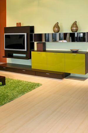 Big flat TV set in living room photo