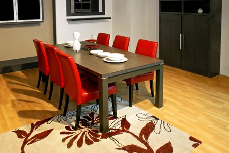 dinning: Ordinary dinning room with table and chairs Stock Photo