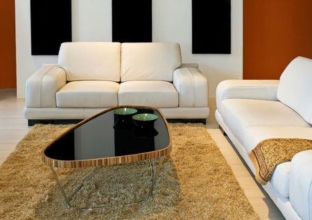 Modern living room with white leather sofas Stock Photo - 2415988