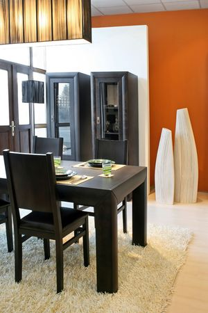 dinning: Modern dinning room with black table and closet
