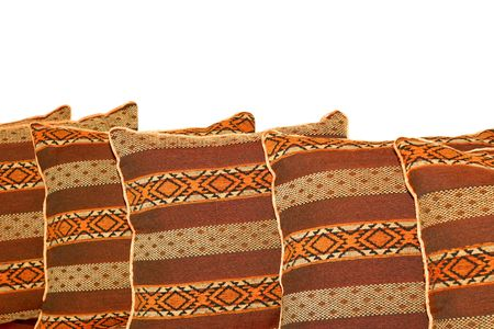 Indian style decorative pillows isolated on white Stock Photo - 2419395