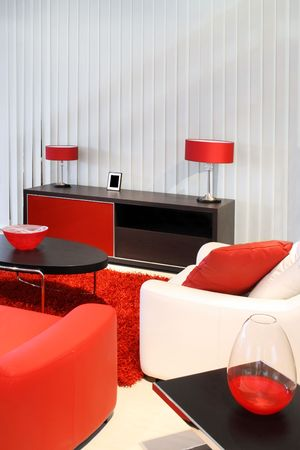 Modern living room with red and black furniture Stock Photo - 2491310