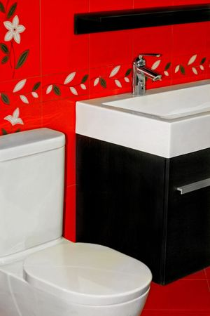 lavabo: New red bathroom very modern and contemporary Stock Photo