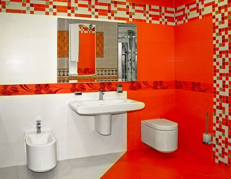 New red bathroom very modern and contemporary Stock Photo