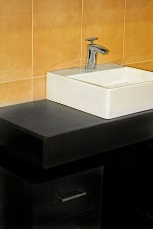 lavabo: Simple style geometric lavabo in modern bathroom Stock Photo