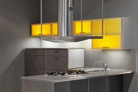 New kitchen in metal style with yellow details Stock Photo - 2512698