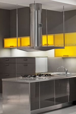 New kitchen in metal style with yellow details Stock Photo - 2512699