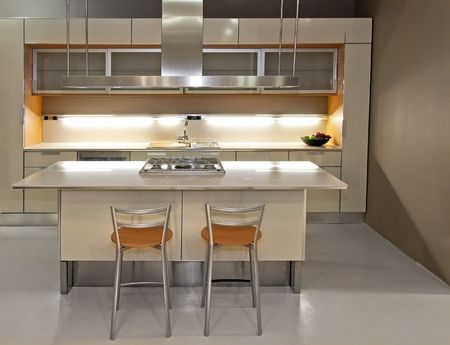 New light kitchen with counter and chairs Stock Photo - 2512691