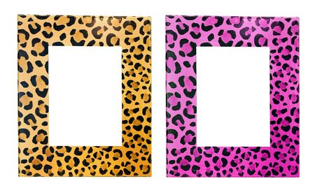 Two photo frames with leopard print isolated Stock Photo