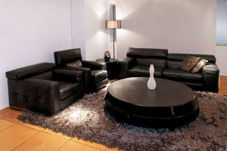 Modern black living room with two sofas Stock Photo - 2691425