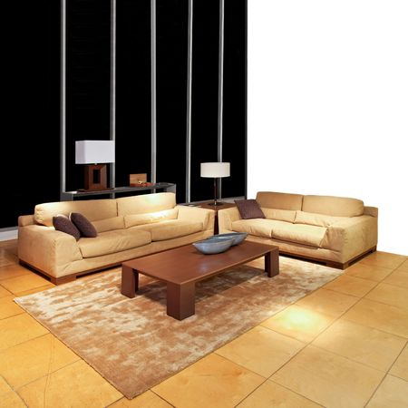 Modern brown living room with two sofas