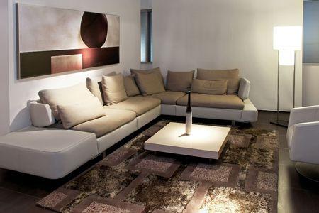 grey rug: Gray living room with big sitting area
