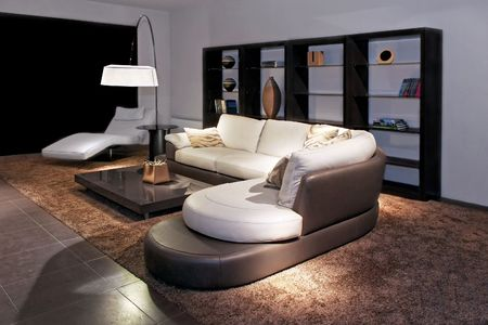 sitting area: Contemporary living room with big sitting area