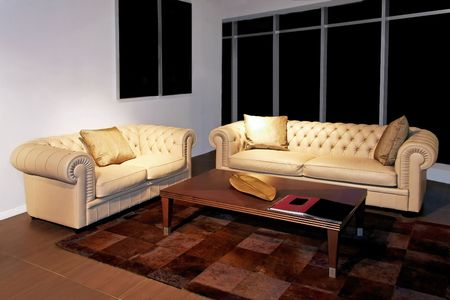 Classics living room with two leather sofas