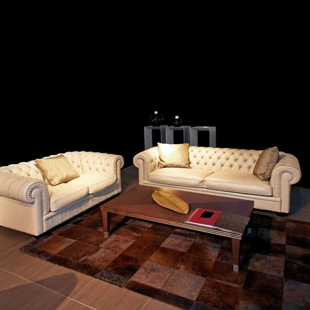 Classics living room with two leather sofas Stock Photo - 2691423