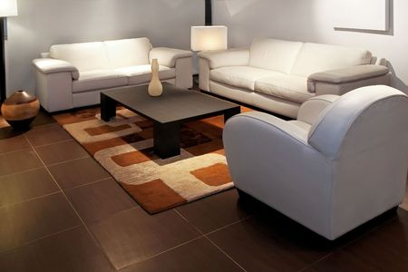 Modern living room with two leather sofas Stock Photo - 2691410