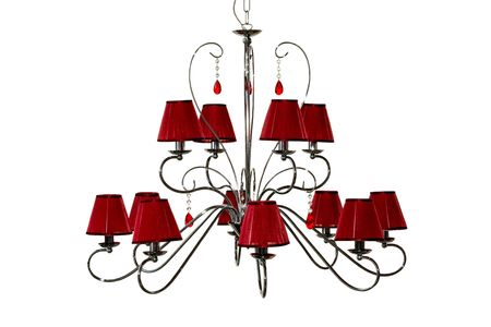 lampshade: Classic design of chandelier with red lampshade isolated