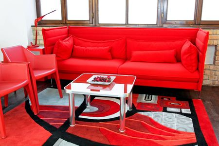 sitting area: Big sitting area in bright red color Stock Photo