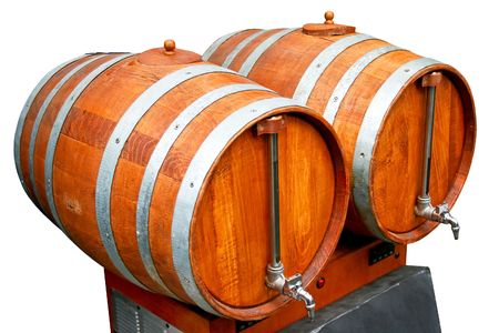 Two old wooden barrels for beverage drinks Stock Photo - 2817126