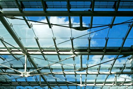 sun roof: Sun roof with blue sky in business building