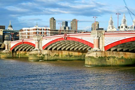 blackfriars bridge: Photo of Blackfriars bridge and Thames river Stock Photo