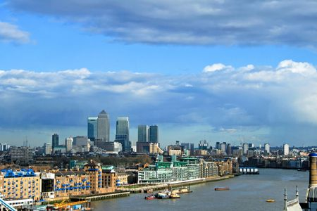 canary wharf: View of Canary Wharf East part of London Stock Photo