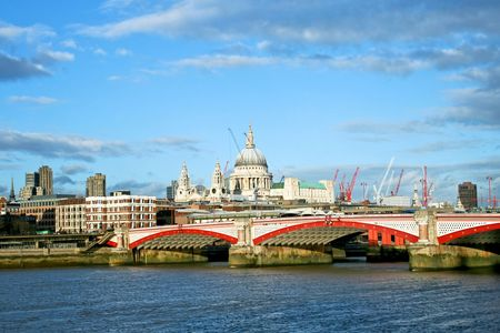 blackfriars bridge: St. Paul cathedral in London over Thames river